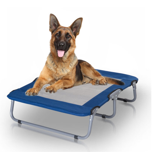 PawHut Oxford Fabric Portable Elevated Pet Dog Puppy Mesh Bed Folding Metal Frame Blue
