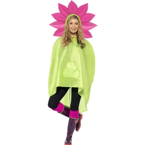Adults Flower Party Poncho -  poncho party flower adult ladies festival smiffys fancy dress mens costume