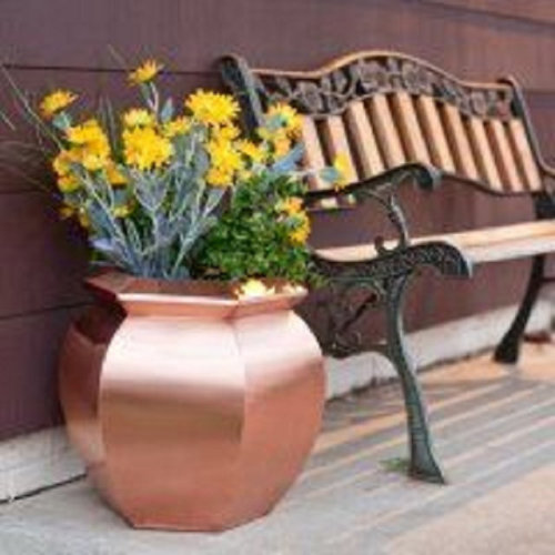 Leaf Metal Planter Plant Pot 30 x 30cm Antique Copper Colour