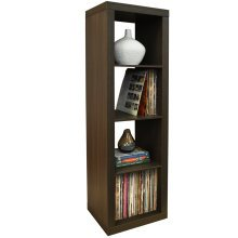 CUBE - 4 Cubby Square Display Shelves / Vinyl LP Record Storage Tower - Walnut