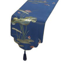 Chinese Style Classical Table Runner Tablecloth Bed Flag Bed Runner, Blue