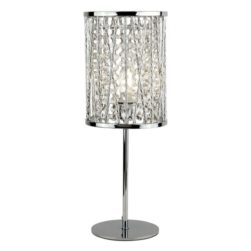 Searchlight Elise 1 Light Table Lamp Chrome Crystal Drops