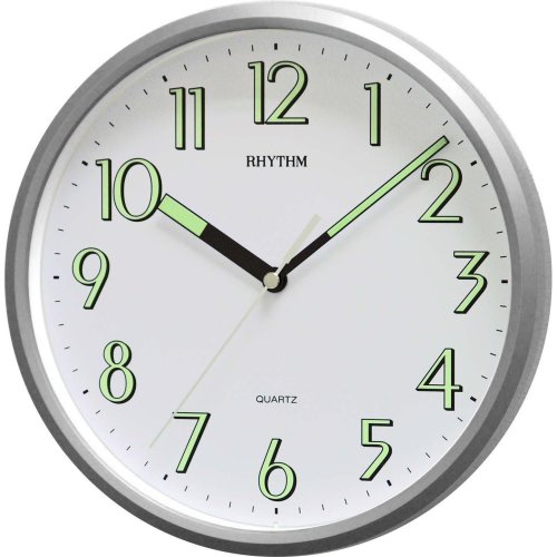 Rhythm Super Luminous Silver Wall Clock 10""
