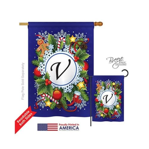 Breeze Decor 30100 Winter V Monogram 2-Sided Vertical Impression House Flag - 28 x 40 in.