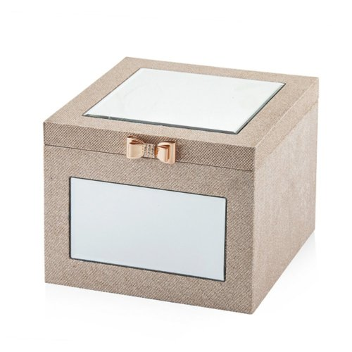 Faux Leather Jewellery Box 30 x 30 cm Beige BROU