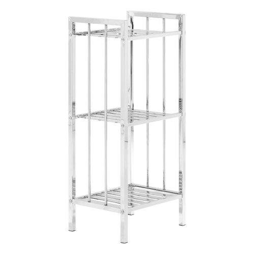 3 Tier Chrome Shelf Unit With Slatted Sides