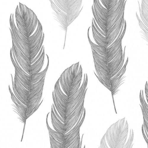 4 x Paper Napkins - Elegant Feather Black  - Ideal for Decoupage / Napkin Art