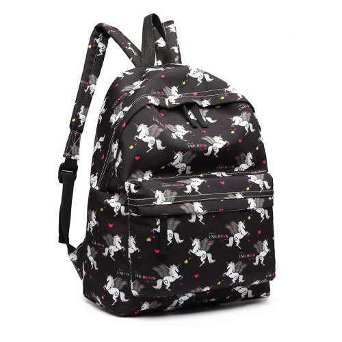 ee7a34de36 Miss Lulu Boys Girls Unicorn Print Canvas Backpack School Bag Black on OnBuy