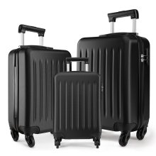KONO Luggage Suitcase Travel Trolley Case Bag 19 24 28 Inch Set Hard Shell ABS 4 Wheels Spinner Black
