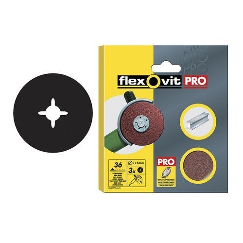 Flexovit 63642527562 Aluminium Oxide Fibre Discs 115mm Fine 80g Pack of 10