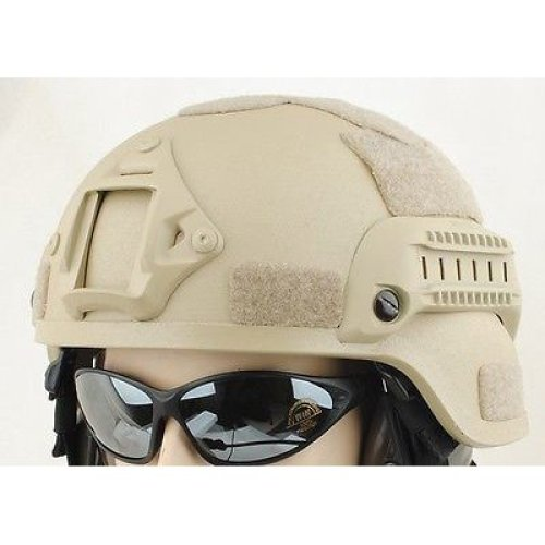 Airsoft Mich Helmet With Rails  Tan Sand De Fibreglass Uk