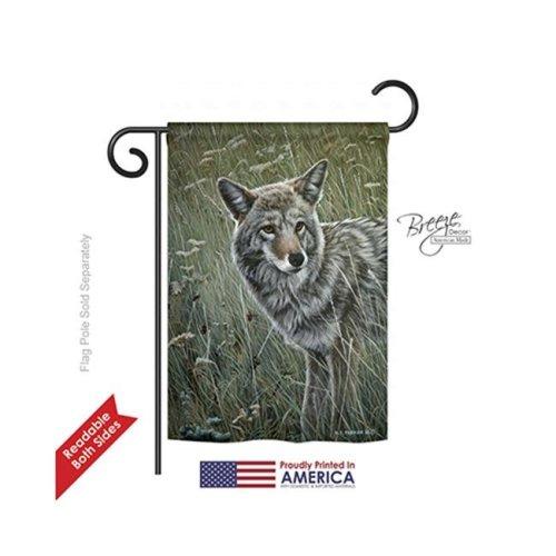 Breeze Decor 60089 Wildlife & Lodge Coyote 2-Sided Impression Garden Flag - 13 x 18.5 in.