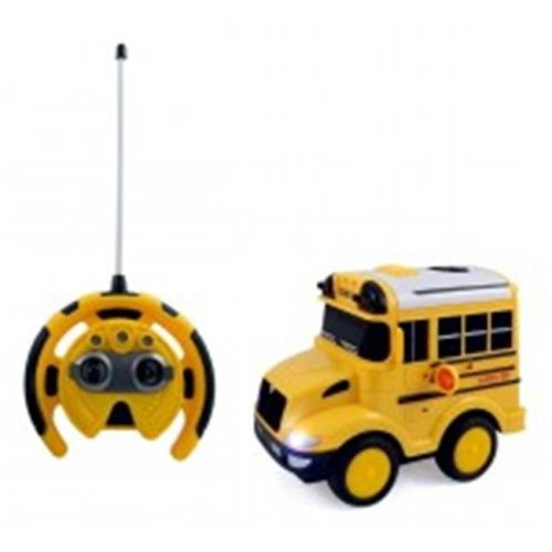 Az Import & Trading PS26A School Bus RC Toy Car for kids with Steering Wheel Remote