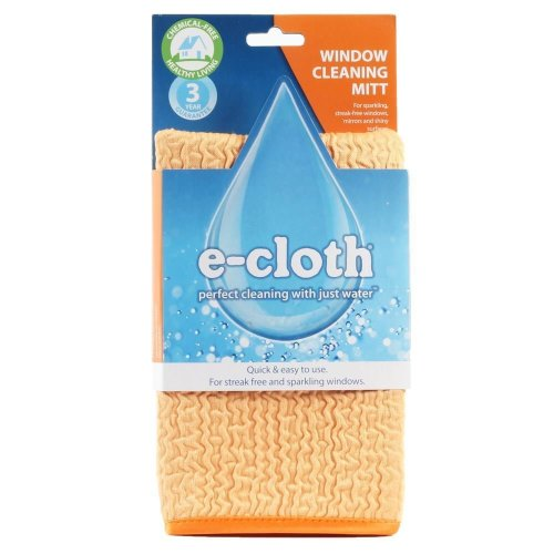 e-Cloth Window Cleaning & Drying Mitt Cloth - Streak-Free Finish with Just Water