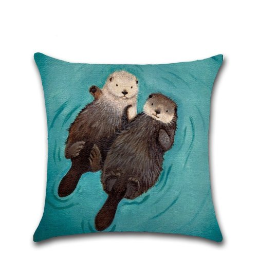 """Melyaxu Otter Throw Pillow Case Cotton Linen Cushion Cover for Home Sofa Couch Chair Car Living Room Bedroom Decorative 18""""X18""""(Two Sides)"""