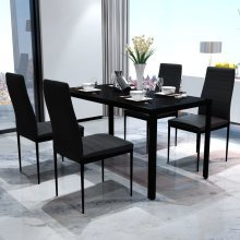 vidaXL Contemporary Dining Table & Chairs   Black 5-Piece Dining Set