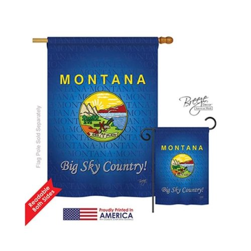 Breeze Decor 08127 States Montana 2-Sided Vertical Impression House Flag - 28 x 40 in.