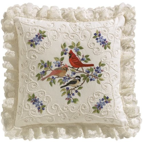 """Janlynn Candlewicking Embroidery Kit 14""""X14""""-Birds & Berries-Stitched In Thread"""