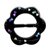 Scarf Ring Pack of 5 Clips Black Flower Shaped Clips