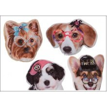 20cm Comical Dog Soft Cushion - 4 Assorted Designs. -  20cm comical dog soft cushion 4 assorted designs
