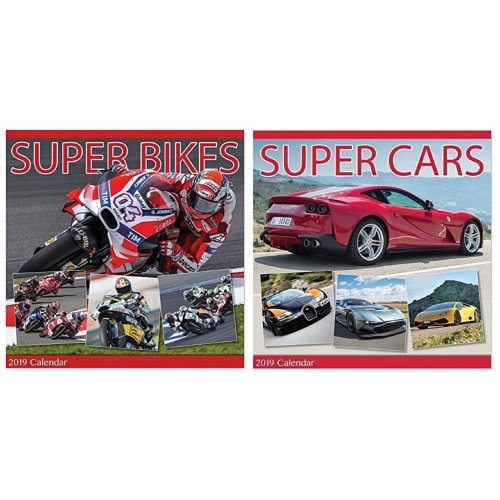 2019 Super Cars Bikes Square Wall Calendar Sports Performance Racing Motorbikes