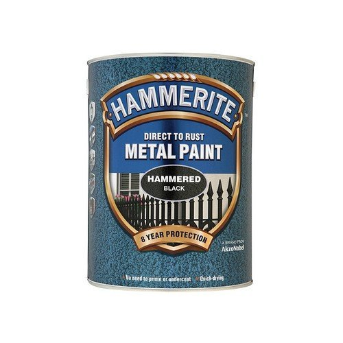Hammerite HFBL5L Direct to Rust Hammered Finish Metal Paint Black 5 Litre
