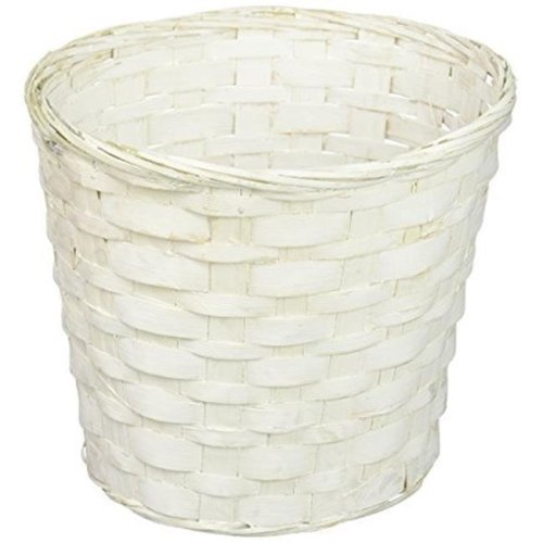Floral 72937 7 in. Bamboo Pot Cover Basket, White