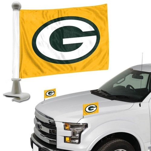 Team ProMark 84816 4 x 6 in. Green Bay Packers Ambassador Car Flag, Set of 2