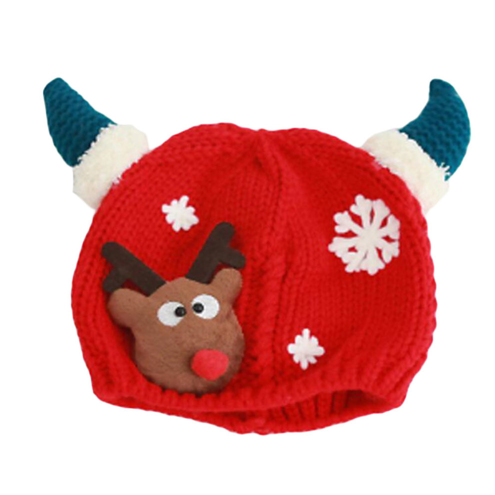 Christmas Hats For Kids.Winter Baby Kids Girls Boys Christmas Hats Warm Deer Crochet Caps Best Gift For 6 12 Month Baby Red