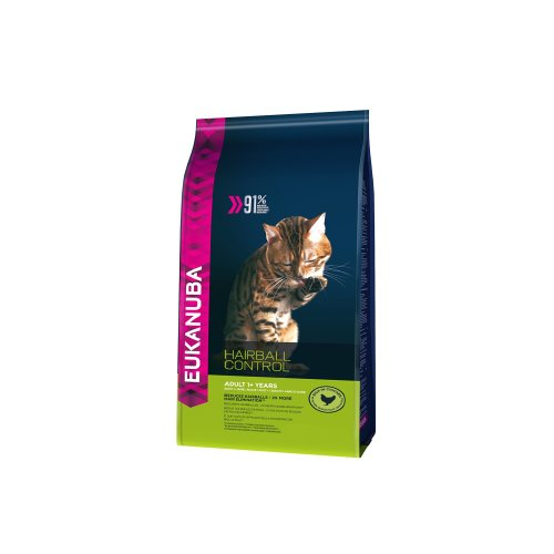 Eukanuba Dry Cat Food Adult with Hairball Control Chicken Liver, 4 kg