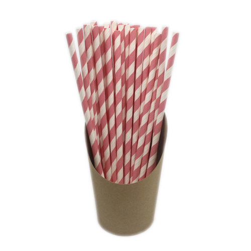 100 Pieces Drinking Straw Disposable Paper Drinking Straws Juice Stirring, Pink