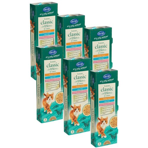 HiLife It's Only Natural Luxury Cat Food , Classic Trio in Sauce, 18 x 70g Tins