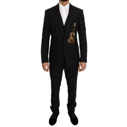 Dolce & Gabbana Black Wool Silk Gold Guitar Slim Fit Suit
