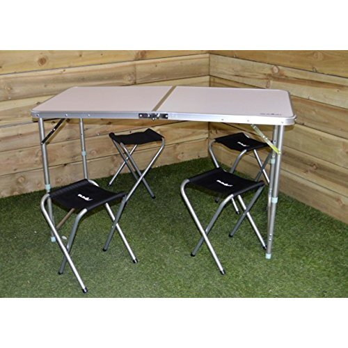 Summit 120x60cm Folding Table + 4 Stools Camping Caravanning Picnic -  summit folding table stools 4 camping garden picnic x outdoor party 120 60cm