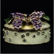 Butterfly Jewelry Box Studded with Crystals Ornament