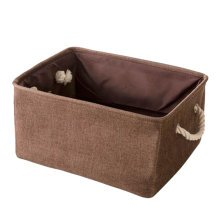 36*26*16 cm, Brown Linen Storage Basket Useful Household Storage Containers