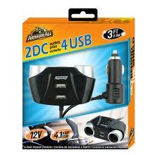 Armor All 12-Volt Car Charger w/2 DC & 4 USB Ports - Black