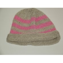 Pink and Beige Striped Knitted Baby Girls Hat 3-6 Months Unique Handmade
