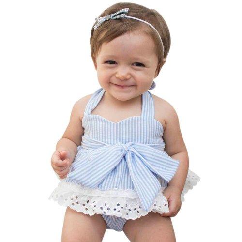 3pcs Newborn Baby Girls Bowknot Clothes 2017 Summer Striped Toddler Kids Clothing Set T-Shirt+Shorts+Headband Bebek Giyim