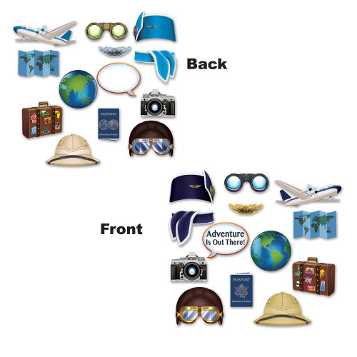 13 Piece Around The World Photo Fun Signs - Travel Cutout Party Decorations