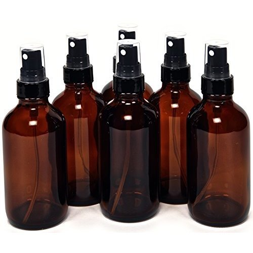 Vivaplex, 6, Amber, 4 oz Glass Bottles, with Black Fine Mist Sprayers