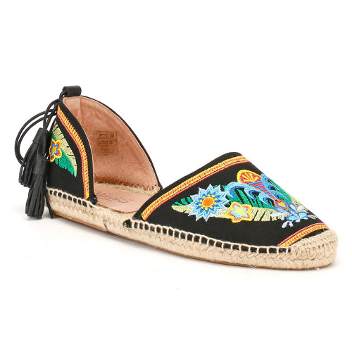 Solillas Womens Black Ankle Tie Folk Sunset Espadrilles