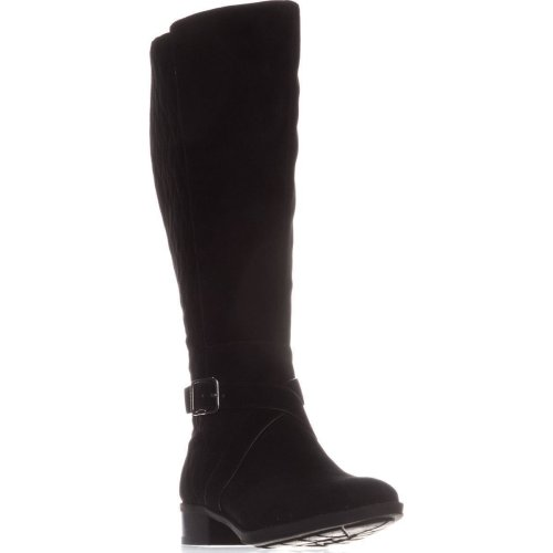 DKNY Mattie Flat Knee-High Boots, Black Suede, 3.5 UK