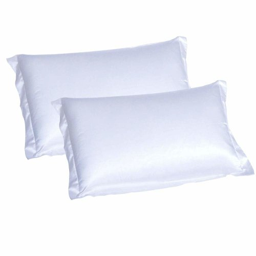 CHRISLZ 2p Silk Pillowcase Standard 50*75CM Silky Soft & Wrinkle Free pure Color Silk Pillowcase (White)
