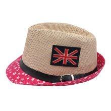 Unisex Kids Fedora Hat Bucket Hat, Lightweight Cap Sunhat Union Jack Red