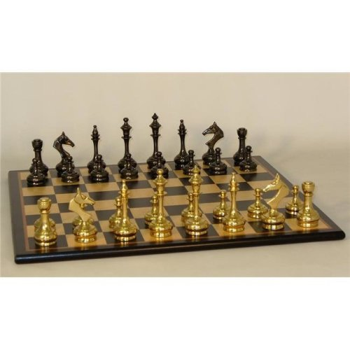 WorldWise 37BSS-BBM Brass Slim Men on Black Birdseye Maple Chess Board