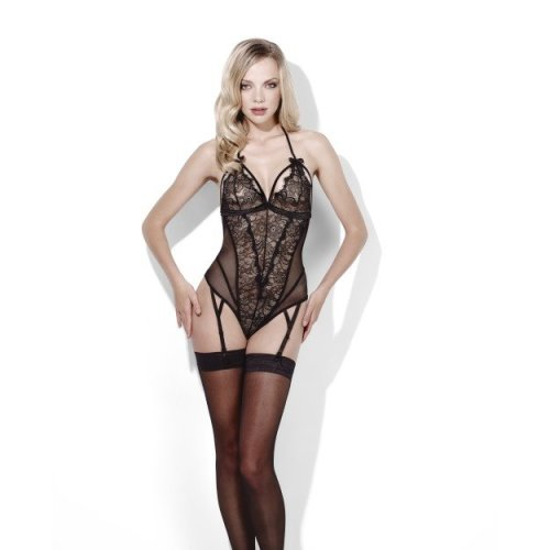 Fever Midnight/passion -  fever midnight uk passion womens 1214 bodysuit suspenders medium range black 818 ladies lingerie crotchless 100 private