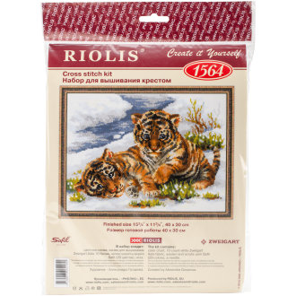 """Tiger Cubs In Snow Counted Cross Stitch Kit-15.75""""X11.75"""" 10 Count"""