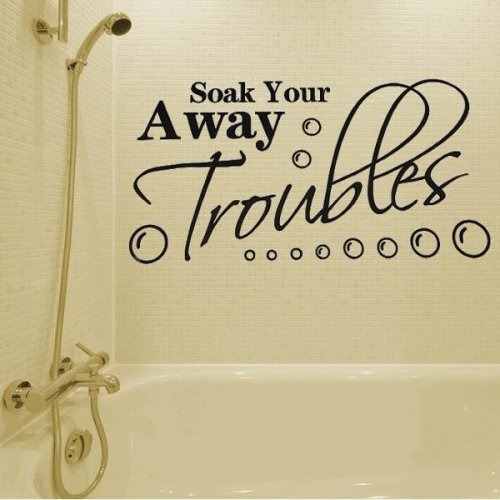 Bathroom Wall Sticker Soak Your Troubles Away Pattern Decoration