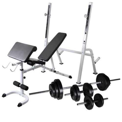 vidaXL Workout Bench with Weight Rack Barbell and Dumbbell Set 30.5kg Fitness
